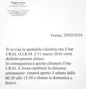 Chiusura Bar Oirm